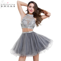 A-Line beaded homecoming dress - 2017 In Stock Homecoming Short Prom Dresses High Neck Backless Crystal Beaded Two Pieces Hollow Cocktail Party Gowns RA6646