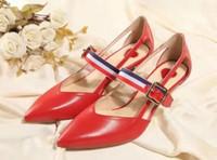 bamboo sandal - high quality u732 genuine leather pointy bamboo belt med heel sandals shoes summer heels fashion red black g
