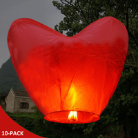 Wholesale 10 Red Heart Chinese KongMing Wishing Sky Flying Lanterns Fire Light Lamp Wedding Party