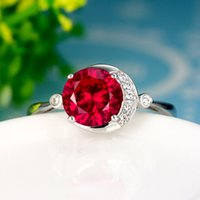 Wholesale ruby ring silver inlay color red corundum gemstone jewelry K gold plated ring Nvjie personality