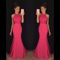 Wholesale Charming Mermaid Long Prom Dresses With Lace O Neck Sleeveless Floor Length Formal Evening Party Gowns