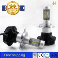 Wholesale 1 pair for Philips W LM H4 LED Headlight Kit High Low Beam Bulbs K auto led headlight lamp car
