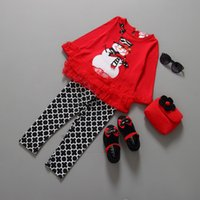 Wholesale 2016 New baby grils five size European and American Christmas snowman and Christmas style clothing sets