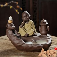 Wholesale Retro Handmade Pottery Backflow Incense Burner Buddhist Decoration Home Fragrance Aromatherapy Diffuser with Cones Free Z00D840