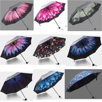 Wholesale NEW Styles Flower Three folding Rain Umbrella For Women Lady Black Coating Plegable Paraguas High Quality