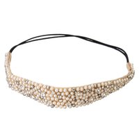 Wholesale Hot Sale Fashion Hairband Rhinestone Beads and Lace High Quality Elastic Headband Hair Accessories For Women