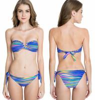bandeau bikini top xs - 2016 New Arrivals Colloyes Purplish Multicolor Stripe Foil Bandeau Top with a Sexy Open V Wire at Center Front Bikini Swimwear