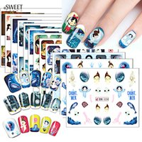Wholesale 1Sheet Cartoon Girl Ocean Nail Art Stickers Beauty Full Wraps Water Transfer Designs Nail Tips Decals DIY Accessories BN313