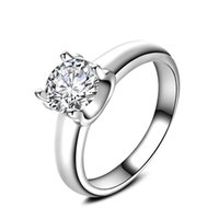 Wholesale Size Rings For Women K White Gold Plated Rings AAA White CZ Diamond Rings Wedding Ring New