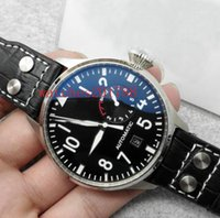 asia power - Top Quality Luxury Wristwatch Big Pilot Black Dial Leather Mechanics Mens Watch IW500901 Automatic Asia ETA Movement Men s Watch Watches