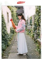 Wholesale Women s new literary parties restoring ancient ways bring long sleeve dress costume dress embroidered horn