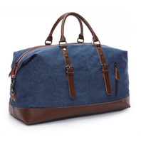 leather weekend bags - Canvas Leather Trim Travel Tote Duffel Shoulder Handbag Weekend Bag Large Size High Capacity for Men out124