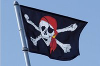 Wholesale Jolly Roger Pirate Flag Cross bone Skull Banner Flags Bandana Polyester Halloween party bar club haunted mansion decor X5 ft event supplies