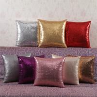 Wholesale European Solid Color Glitter Sequins Throw Pillowcases Decorative Case Home Car Comfortable Decor Waist Cushion Cover Pillow DHL free