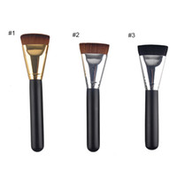 bb wood - Makeup Brushes BB Cream Foundation Concealer Universal Brush Wood Hand with silver gold tube flat head vs tooth brush