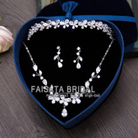 Wholesale 3pcs set Bridal Jewelry Wedding Veil Crystal Crown Pageant Tiara Headpiece Marriage Tire Chain Necklace Earrings Wedding Dress Accessories