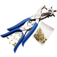 Wholesale 2pcs set Sized Duty Leather Hole Punch Hand Pliers Belt Holes Punches Eyeylets Pliers Eyeylets Grommet Setting Tool