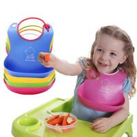 baby bib with pocket - 9 bs Soft Folding Feeding Bib With Pocket Silica Gel Baby Burp Cloths Waterproof Saliva Towels Baby Age Bibs High Quality