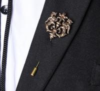 Celtic Men's Gold Wholesale- 2016 Fashion wedding accessory dragon theme collar brooch lapel pin accessories bijoux Men suit Accessories Brooch for women