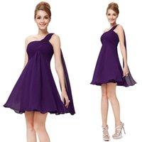 Cheap Reference Images Purple Cocktail Dresses Best Empire One-Shoulder Short Cocktail Dresses