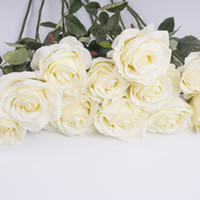 Wholesale DH luxury white Artificial Rose Real touch Fake rose flowers bouquet for wedding party fake flower home decor