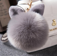 Wholesale Fur Pom Pom Keychain Fake Rabbit fur ball key chain Bag Charms bunny keychain Keyring free ship