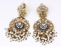 Wholesale Baroque style fashion queen retro tassel earrings new European and American hollow gem drop handmade earrings