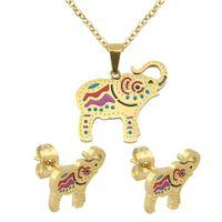 al por mayor indio conjunto collar de gargantilla-2016 Misteriosa joyas indias conjunto conjunto Elefante Diseño Gargantilla Collar pendiente 316L quirúrgico Pin Pinzas Joyas