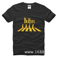 Crew Neck beatles shirt men - 2017 New Fashion The Beatles Printed Mens Tshirt Fashion Men T Shirt Short Sleeve Round Neck casual Cotton T shirt