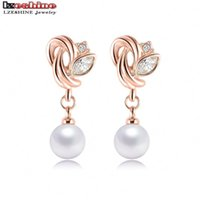 Wholesale Fashion Jewelry Pearl Earrings Rose Gold Plate SWA Element Austrian Crystals Flower Earrings For Women ER0193 A