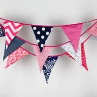 Wholesale- Nouveau 3.5M Bigger drapeaux Navy Fabric Bunting Personnalité Mariage Décoration de fête Décoration Vintage Baby Decor Banner