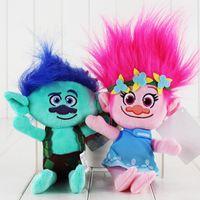 Wholesale 23cm Movie Trolls Poppy Branch Plush Toy Soft Plush Stuffed Doll for kids Christams gift EMS
