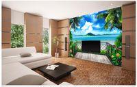 Fabric beach house bedroom decor - 3D photo wallpaper custom d wall murals Balcony dream beach sea view TV background wall d living room wall decor