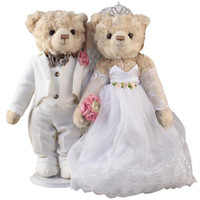 Wholesale Plush Teddy Bear Lovers Wedding Dress Doll Mascot Costumes Show For valentine s day Bear Toy for Wedding Gift