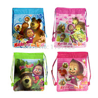 Wholesale Non woven Fabric Cartoon Masha and Bear Drawstring Plush Backpacks bag for Kids