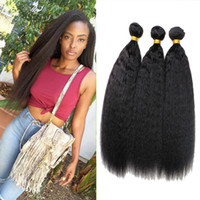 achat en gros de yaki 16 cheveux humains-Rainbow Queen Hair 3 Bundles Virgin Brazilian Yaki Straight Kinky Straight Hair Afro Kinky Cheveux Humains Weave 8-20inch