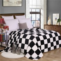 Wholesale Black and white grid Pattern For Office Sofa Home Decration Boys Girls Adults Blankets Nap Throw Flannel Freece Soft Fabric Blanket For Beds