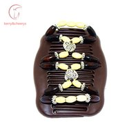 Wholesale 20pcs CCB heart beads magic wooden comb classical comb women hair accessiorise brithday gifts