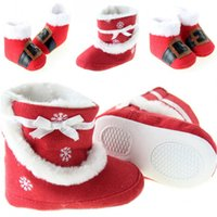 ankle walker boot - Newest X mas Baby Shoes Girls Boy Warm First Walker Shoes Red Santa Claus Infant Booties Shoes Baby Christmas Warm Winter Boots