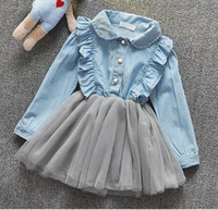 baby girl jeans dress - Hug Me Baby Girls Dress Lace Tutu new Korean girls jeans stitching yarn skirt dress Tutu lining AA So