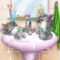 area single - High Quality DIY Two Cats Bathing Embroidery Mosaic Diamond Painting Cross Stitch Area Square Animal Wall Decor Gift A1196