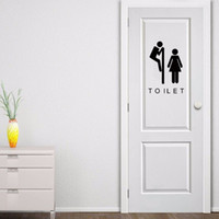 bathrooms doors - 2017 Hot Sale New Toilet Seat Wall Sticker Vinyl Art Wall Paper Removable Bathroom Door Decals Decor Art Diy