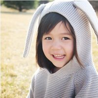 Wholesale Kids winter coats Cotton cute Rabbit Style Long Ear Hooded Sweaters For Boys Girls Baby Fall Sweater Knit Clothing Cardigan colors