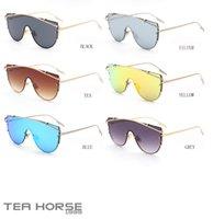 achat en gros de cheval hanche-Tea horse lunettes de soleil mode hip-hop qualité métal lentilles retro mail 2017 modèles