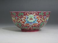 antique rose paintings - Chinese Famille Rose porcelain Bowl Painted Peony flower Bowl Qianlong mark W161