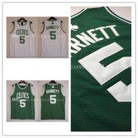 Wholesale Mesh Kevin Maurice Garnett Basketball Jersey Men s Mesh Kevin Maurice Garnett Jerseys Embroidery Logos White Green