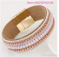 achat en gros de american girl bracelet de charme-Bracelet en cristal avec strass Bracelet en cuir américain style femme bracelet en cuir