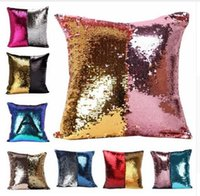 Wholesale Mermaid Sequins Cushion Covers Pillow Case Reversible DIY Magic Double Glitter Throw Pillow Case Cafe Home Square19 Styles