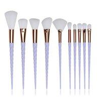 Wholesale 10 Unicorn Thread Makeup Brushes Professional Make Up Brushes Fiber Brush Set Makeup Tools Eyebrow Eyeliner Powder Brushes