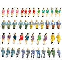 Modelo de personas al por mayor-50Pcs figuras pintadas Modelo de pasajeros de trenes de modelo Todos los hombres sentados y personas femeninas modelo de diseño de construcción Escala de 1:50